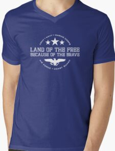 Land of the Free - White Mens V-Neck T-Shirt