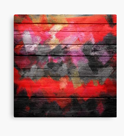 Abstract Color Paint Brush Wood Look Canvas Print