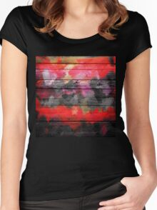 Abstract Color Paint Brush Wood Look Women's Fitted Scoop T-Shirt
