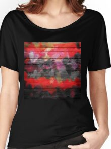 Abstract Color Paint Brush Wood Look Women's Relaxed Fit T-Shirt