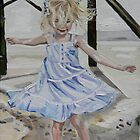 Lizzie Dancing in the Sands under the Pier on The Isle of Palms by Juliane Porter