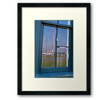 Sailboat on window Framed Print