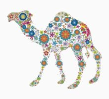 Cute Colorful Retro Floral Camel by artonwear