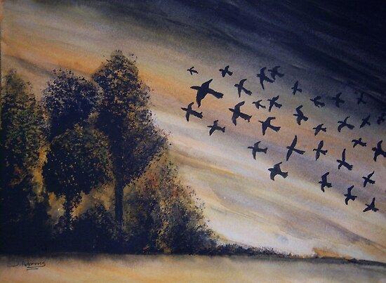 Birds in Flight by Debbie  Adams