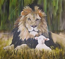the lion shall lie down with the lamb  by Almeta