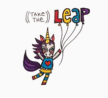 Take the Leap: Cute Unicorn Drawing Watercolor Illustration Womens Fitted T-Shirt