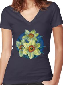Daffodils T Women's Fitted V-Neck T-Shirt