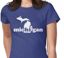 Hi From Michigan - White Womens Fitted T-Shirt