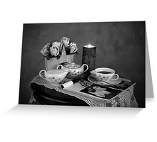Reading and Coffee Time Black and White Greeting Card