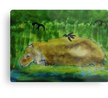 Hippo in the water,( revised), watercolor Metal Print