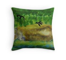 Hippo in the water,( revised), watercolor Throw Pillow