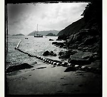 Sailboat off Chung Hom Kok beach by robigeehk