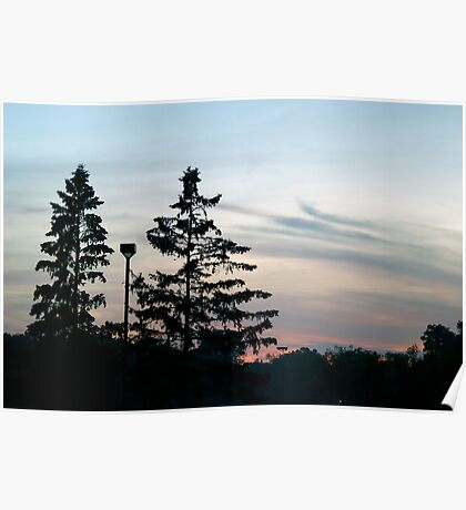 Twin Sunset Silhouettes  Poster