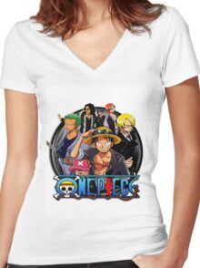 onepiece crew Women's Fitted V-Neck T-Shirt