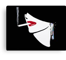 Red Lips, Vintage fashion art, Sophisticated woman Canvas Print