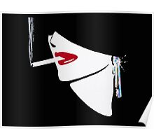 Red Lips, Vintage fashion art, Sophisticated woman Poster
