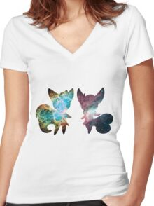 Meowstic (Male and Female) Women's Fitted V-Neck T-Shirt