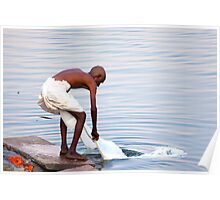 Rithual bathing in the river Ganga Poster