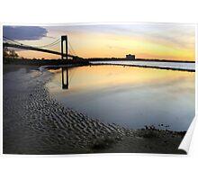 Sunrise by the Verrazzano Narrows Bridge. Poster