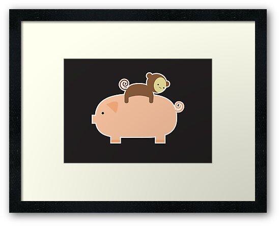 Baby Monkey Riding Backwards on a Pig - Black Bg by imaginarystory