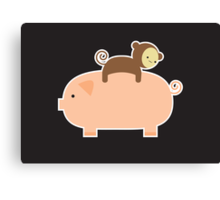 Baby Monkey Riding Backwards on a Pig - Black Bg Canvas Print