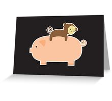 Baby Monkey Riding Backwards on a Pig - Black Bg Greeting Card