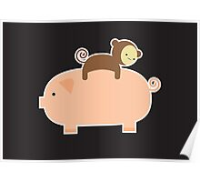 Baby Monkey Riding Backwards on a Pig - Black Bg Poster