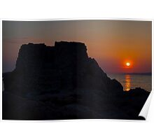 Sunset on ruins Poster