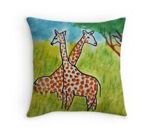 2 Girraffes in twined, watercolor Throw Pillow