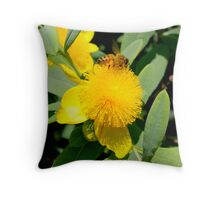 Yellow Flower Bee By Jonathan Green Throw Pillow