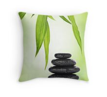 Zen stones and bamboo Throw Pillow