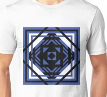 Geometric Squares Blue on Black Unisex T-Shirt