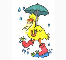 Wet rainy duck with gum boots and umbrella Unisex T-Shirt