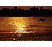 Sunset, Country boat heading towards golden rays Photographic Print