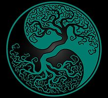 Teal Blue and Black Tree of Life Yin Yang by Jeff Bartels