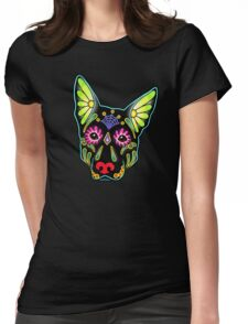 Day of the Dead German Shepherd in Black Sugar Skull Dog Womens Fitted T-Shirt