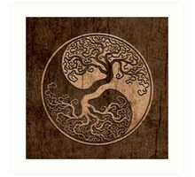 Rough Wood Grain Effect Tree of Life Yin Yang Art Print
