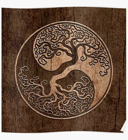 Rough Wood Grain Effect Tree of Life Yin Yang Poster