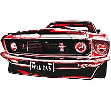 Red Ford Mustang illustration Photographic Print