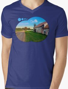 Traditional farmhouse scenery | landscape photography Mens V-Neck T-Shirt