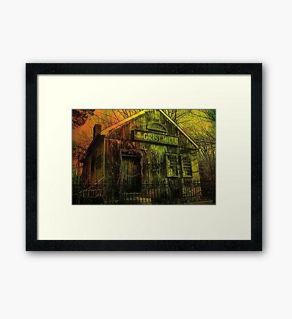 Spooky Grist Mill in Oil Framed Print
