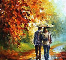 Fall Stroll - original oil painting on canvas by Leonid Afremov by Leonid  Afremov