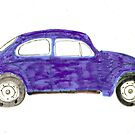 Blue VW Beetle Bug by Della  Badart