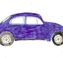Blue VW Beetle Bug by Della  Badart