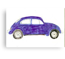 Blue VW Beetle Bug Canvas Print