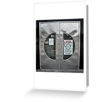 Reflections In the Cresent Steel Door - Blue Plate Diner  *Featured* Greeting Card