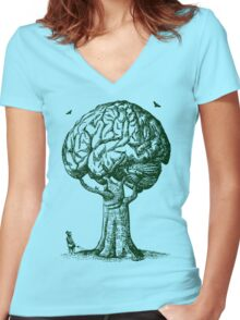 Think Green Graphic Shirt Women's Fitted V-Neck T-Shirt