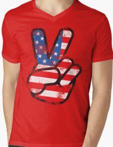 Retro American Peace Shirt Mens V-Neck T-Shirt