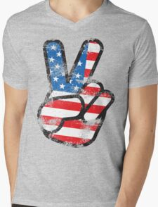 Retro American Peace Shirt Mens V-Neck T-Shirt