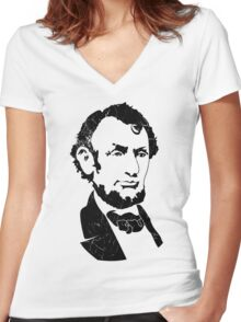 Retro Abraham Lincoln Shirt Women's Fitted V-Neck T-Shirt